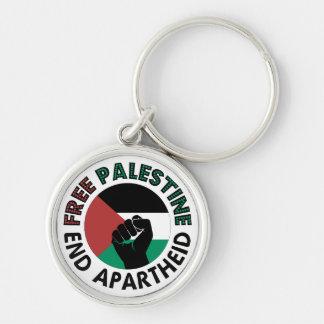 Free Palestine End Apartheid Palestine Flag Silver-Colored Round Keychain