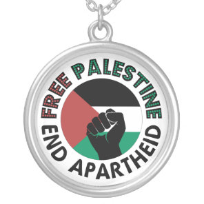 Free Palestine End Apartheid Palestine Flag Silver Plated Necklace