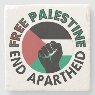 Free Palestine End Apartheid Palestine Flag Stone Coaster