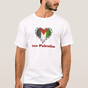 Free Palestine Flag Barbed Wire Heart Mens TShirt