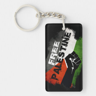 Free Palestine Flag (distressed) Rectangle Acrylic Key Chain