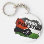 Free Palestine Grunge Flag Basic Round Button Keychain