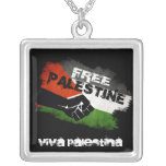 Free Palestine Grunge Flag Square Pendant Necklace