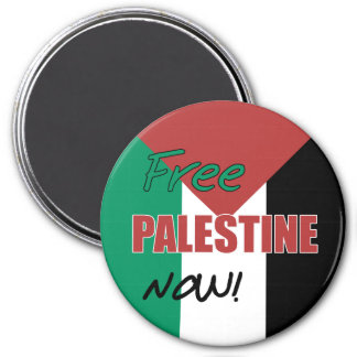 Free Palestine Now Palestinian Flag 3 Inch Round Magnet
