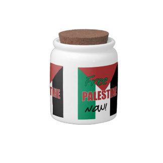 Free Palestine Now Palestinian Flag Candy Jar