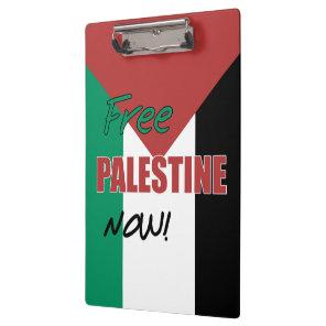 Free Palestine Now Palestinian Flag Clipboard