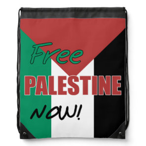 Free Palestine Now Palestinian Flag Drawstring Backpack