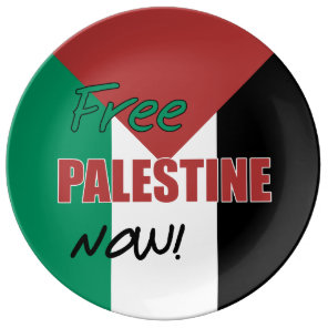 Free Palestine Now Palestinian Flag Porcelain Plate