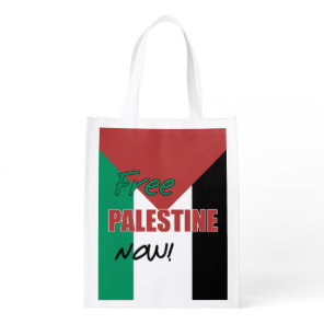 Free Palestine Now Palestinian Flag Reusable Grocery Bag