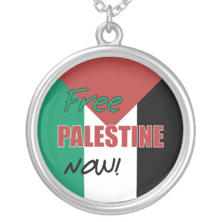Free Palestine Now Palestinian Flag Round Pendant Necklace