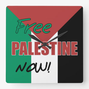 Free Palestine Now Palestinian Flag Square Wall Clock