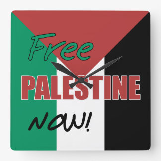 Free Palestine Now Palestinian Flag Square Wall Clock