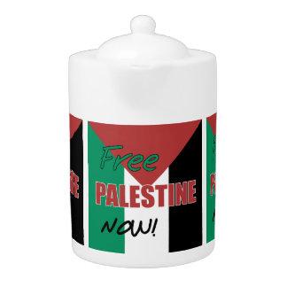 Free Palestine Now Palestinian Flag Teapot