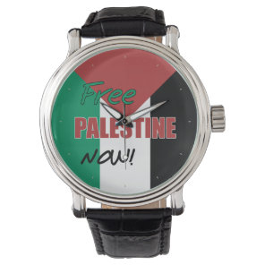 Free Palestine Now Palestinian Flag Wrist Watch