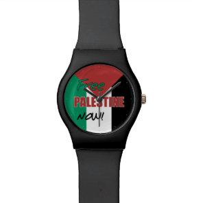 Free Palestine Now Palestinian Flag Wrist Watch