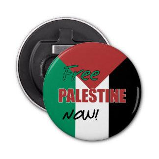 Free Palestine Now Palestinian Flag Button Bottle Opener
