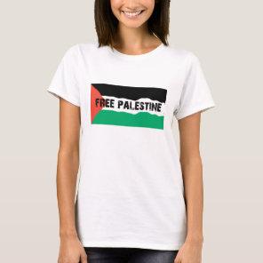 FREE PALESTINE WITH WAVY PALESTINIAN FLAG T-Shirt