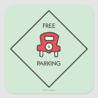 Free Parking Corner Square Square Sticker