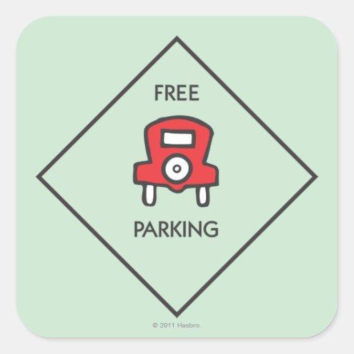 Free Parking Corner Square Sticker