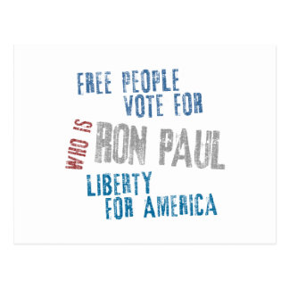 Free people vote for Ron Paul Postcard