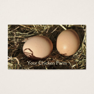 Free range eggs on a bed of hay business card