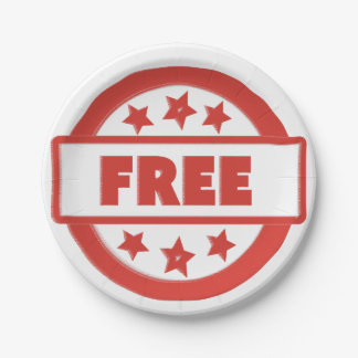 Free Red Stamp Your Custom Paper Plates 7 in 7 Inch Paper Plate