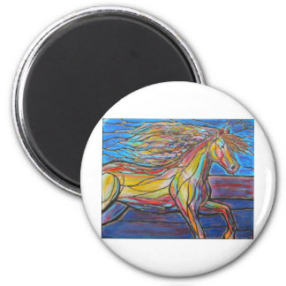 """""""Free Rein"""" Horse Art Mosaic/Stained Glass Style! 2 Inch Round Magnet"""