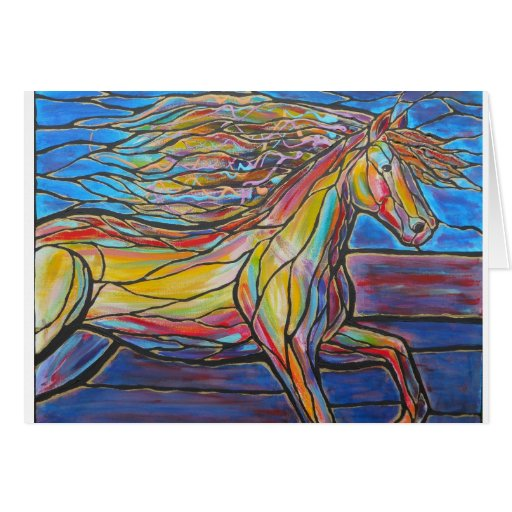 """Free Rein"" Horse Art Mosaic/Stained Glass Style! Greeting Card"