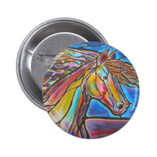 """""""Free Rein"""" Horse Art Mosaic/Stained Glass Style! Pinback Button"""