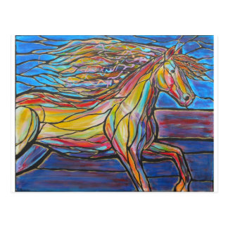 """Free Rein"" Horse Art Mosaic/Stained Glass Style! Postcard"