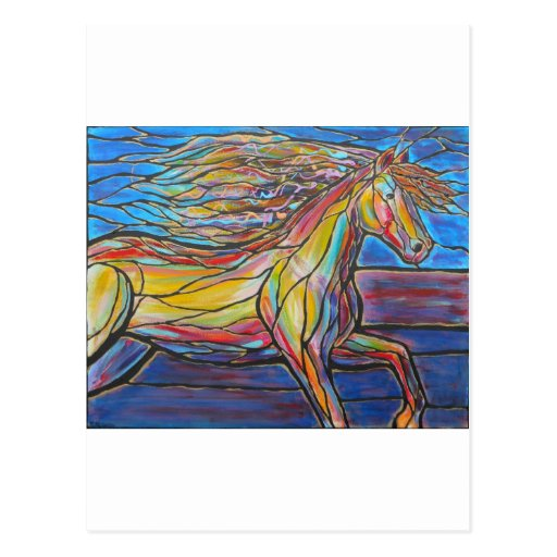 """Free Rein"" Horse Art Mosaic/Stained Glass Style! Post Card"