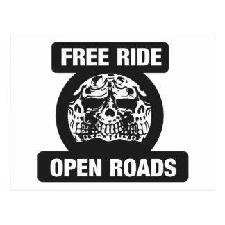 Free ride open roads postcard