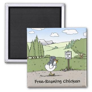 Free-Roaming Chicken Funny Chicken Cartoon 2 Inch Square Magnet