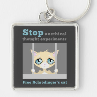 Free Schrodinger's Cat Silver-Colored Square Keychain