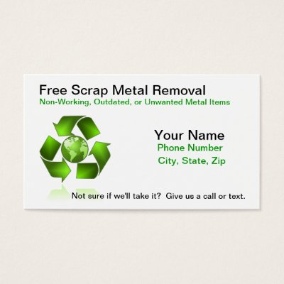 Metal recycling business cards zazzle reheart Gallery