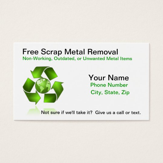 Free scrap metal removal business card zazzle free scrap metal removal business card reheart Image collections