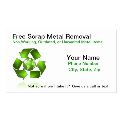 Recycling business card templates bizcardstudio recycling free scrap metal removal business card reheart Choice Image