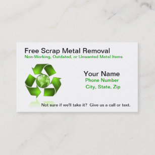 Metal recycling business cards zazzle free scrap metal removal business card reheart Choice Image