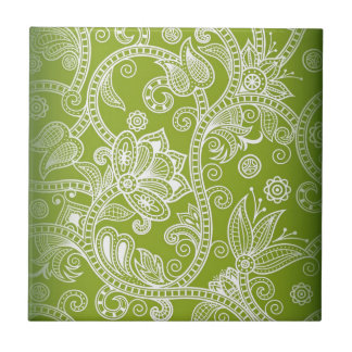 Free-Seamless-Floral-Vector-Background GREEN WHITE Ceramic Tile