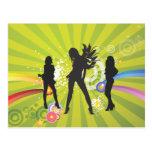 Free Silhouettes of Dancing Girls Postcard