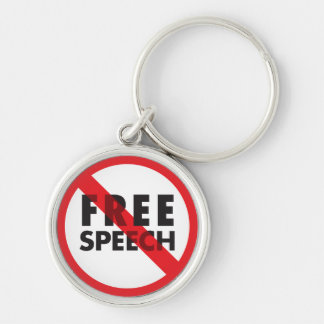 FREE SPEECH Silver-Colored ROUND KEYCHAIN