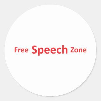 Free Speech Zone, just words Classic Round Sticker