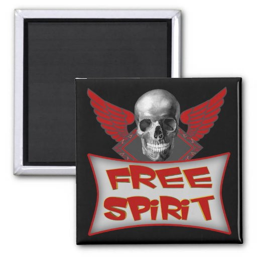 Free Spirit Biker T shirts Gifts 2 Inch Square Magnet
