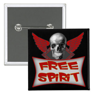 Free Spirit Biker T shirts Gifts 2 Inch Square Button