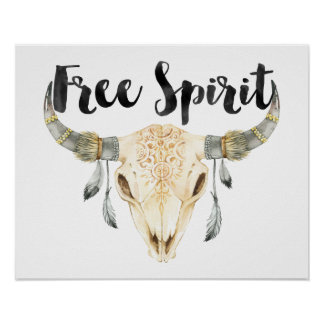 Free Spirit Bull Head with Feathers Poster