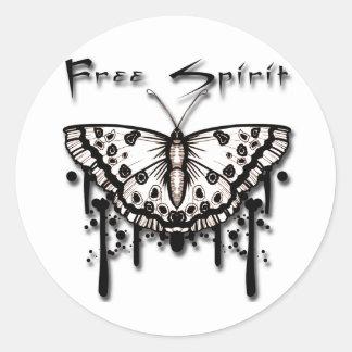 Free Spirit Butterfly Classic Round Sticker