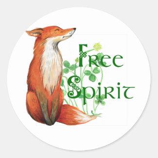 free spirit fox classic round sticker