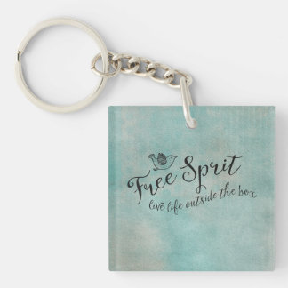 Free Spirit Live Life Outside the box Square Acrylic Keychains
