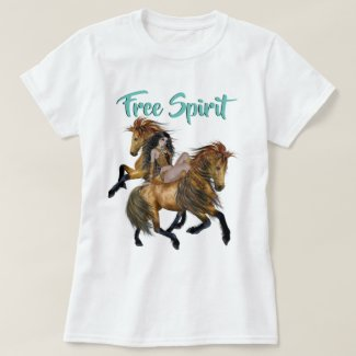 Free Spirit Native American Princess and Stallions T-Shirt