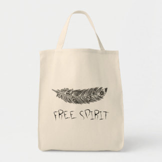 *FREE SPIRIT* Tote Bag Groceries Books Hippie Boho